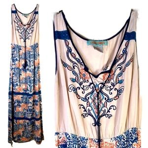Flying Tomato Embroidered Blue Cream Boho Maxi S